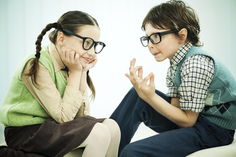 Two Kids Tallking/Siblings In Conversation/Two Childern Talking On ...